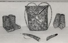 Tuohitöitä, Old Finnish birch bark items: Kontti- backpack, Virsut- shoes, Tuohitorvi- horn, used by herders, Puukon tuppi- Puukko/knife sheath, Saappaat- boots