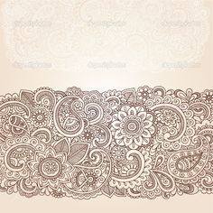 Henna Flowers and Paisley Mehndi Tattoo Edge Design Doodle- Abstract Floral Vector Illustration Design Elements - stock vector Mehndi Tattoo, Henna Mehndi, Flor Henna, Henna Mandala, Lace Tattoo, Henna Tattoo Designs, Henna Art, Mehndi Designs, Mehendi