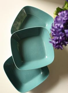 Figgjo Flint Norway Three Dishes Turquoise by TriBecasVintage