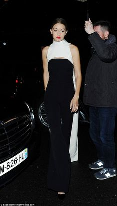 Gigi Hadid at the Christian Dior after-party as she made a glamorous arrival at Paris' Angelina's restaurant on March 4, 2016 #pfw
