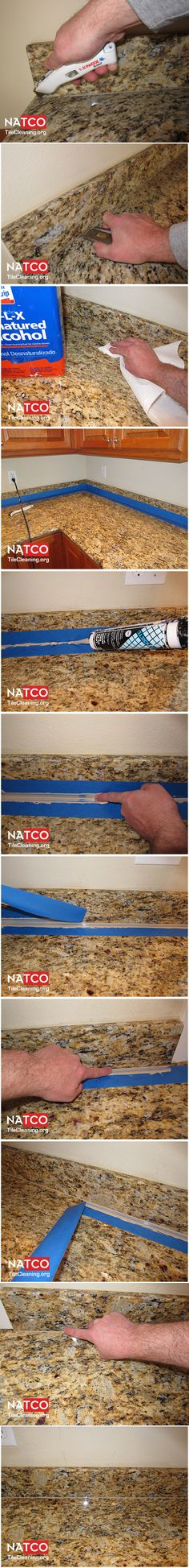 How to clean up old caulk and apply new caulk to granite countertop