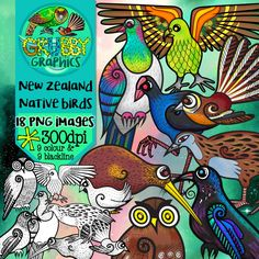 There's a lot more to Aotearoa's bird life than the world famous kiwi! Are you looking for some quirky New Zealand native birds to flitter into your latest creative project? Then check out these beauties!  This set contains 9 birds (in both colour and blackline) as high quality (300 dpi) PNGs with transparent backgrounds.  •Kereru (wood pigeon) •Kiwi •Pukeko •Tui •Piwakawaka (fantail) •Ruru (morepork) •Kea •Weka •Kakapo