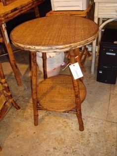 Bamboo and Rattan English-Style Side Table, Tortoise Finish, Lower Shelf