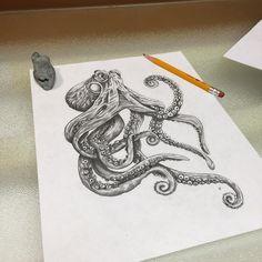 Finished this awesome tattoo for my friend @tware4021. #art #amazing #tat #tattoo #tattooart #tattoolife #sketch #sealife #syracusetattoo #pencil #octopus #octopustattoo #blackandwhite #epic #love #life #flash #ink #illustration Jackpot!