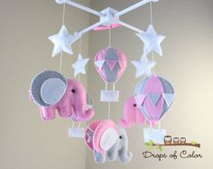 "Baby Mobile - Baby Crib Mobile - Pink Hot Air Balloons and Elephants Mobile ""Up in the Air"" (You Can Pick your Colors and Animals)"