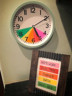 We went ahead and made one of this for the start of the school year! Plus it helps teach kids how to read a real clock :) Teaching Kids, Kids Learning, Kids Routine Chart, Clock For Kids, Kids Schedule, Chore Chart Kids, Future Mom, Charts For Kids, Baby Kind