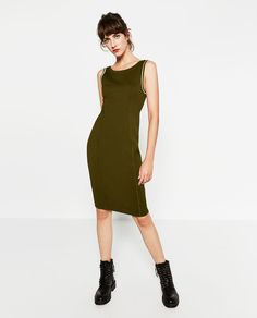 DRESS WITH GOLD PIPING-DRESSES-WOMAN | ZARA United States