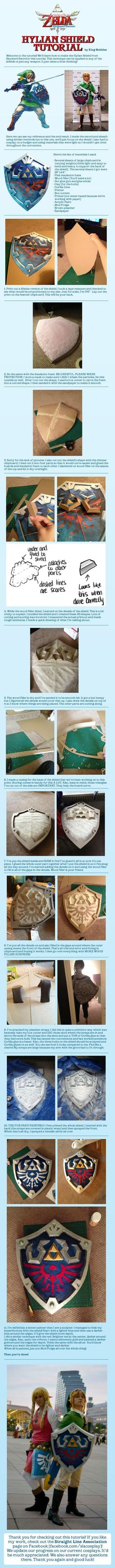 The Legend of Zelda Hylian Shield Cosplay Tutorial by King-Bobbles - Worth keeping handy. Link Cosplay, Cosplay Diy, Halloween Cosplay, Halloween Costumes, Cosplay Weapons, Cosplay Armor, Photos Booth, The Legend Of Zelda, Legend Of Zelda Costume