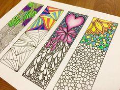 Items op Etsy die op Zendoodle Mindfulness Bookmarks, Inspired by the art of Zentangle, Printable Coloring Sheet 2 lijken Doodle Art Drawing, Zentangle Drawings, Zen Doodle, Zentangles, Doodle Patterns, Zentangle Patterns, Doodle Borders, Mandala Design, Mandala Art