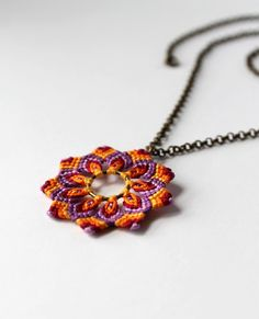 Flower Necklace Mandala Macrame