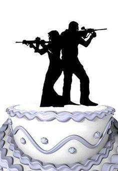 Meijiafei Rifle with Gun Bride and Groom Wedding Cake Topper