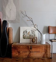 Complete with a battered chest, old tree branch, ornithological painting and instrument case, this is one manly corner