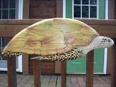 "Sea Turtle 31"" chainsaw wood reptile carving endangered sealife wall mount home garden patio deck decor hand painted original art"