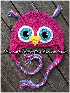Owl crochet hat adult crochet hat adult by littlewillowbowtique