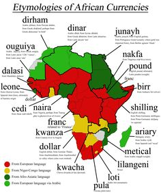 Etymologies of African Currency Names [OC] : etymologymaps African Culture, African American History, British History, African Art, Africa Nature, All About Africa, Black History Facts, Strange History, African Countries
