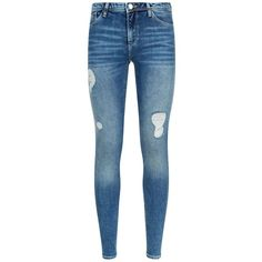 Armani Jeans J28 Orchid Skinny Distressed Jeans (£100) ❤ liked on Polyvore featuring jeans, distressed jeans, torn jeans, super distressed skinny jeans, distressed skinny jeans and destructed jeans