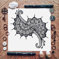 Mandala zentangle drawing design black and white