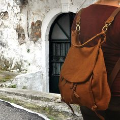 Handmade backpack purse in New Copper brown by iyiamihandbags