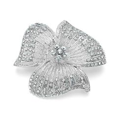 #Captivating #Crystals... Flower Brooch With Crystal Accents <3 www.weddingworthy.com <3
