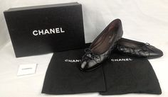 100% Authentic CHANEL Ballerina Ballet Flats Quilted Leather Black Size 39.5  #CHANEL #BallerinasBalletFlats