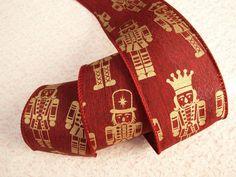 Christmas Ribbon, Nutcracker, 3 YARDS, Bows, Wreaths, Holiday Home Decor