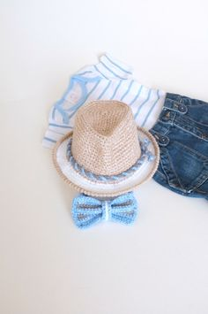 Baby Boy Shower Gift Fedora Hat Bow Tie Set Crochet by milazshop