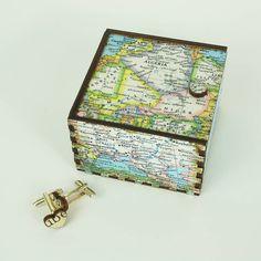 Map Cufflink Travel Box