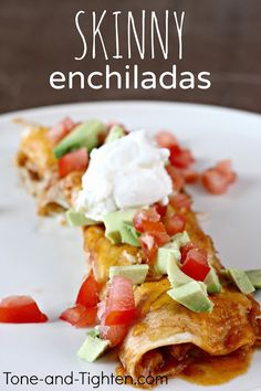 Slow Cooker Skinny Chicken Enchiladas Recipe!  Via Holly @ Happy Food, Healthy Life