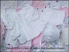 "Frilled Matinee Set 16-22"" doll (preemie-3m+ baby)-knitting pattern, matinee coat, doll, baby, babydoll handknit designs"