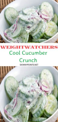 So nice and fresh, makes for a great side dish with any meal or just an amazing snack! Instead of red onion I used a yellow onion. Weight Watchers Sides, Weight Watchers Salad, Weight Watchers Smart Points, Weight Watcher Dinners, Skinny Recipes, Ww Recipes, Low Calorie Recipes, Recipies, Cooking Recipes