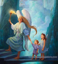 Hand-painted Figure Oil Painting - Angel and children arriving in heaven