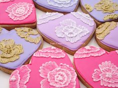 Fancy Brush Embroidery Heart Cookies 1 by TheFancyLadyGourmet