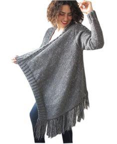 Plus Size Cardigan with Fringe  Tweed Dark Gray by Afra por afra, $140.00