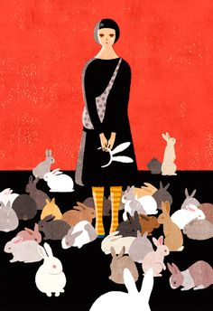 Illustration by Yoko Tanji apropo de ciorapi cu inimioare, rochia albastru electric, identity change, different animals Toys Drawing, Bunny Art, Bunny Bunny, Bunny Rabbits, White Rabbits, Rabbit Art, Funny Bunnies, Art Design, Art Forms