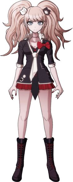 """Junko Enoshima (江ノ島 盾子 Enoshima Junko) is the central antagonist of the Danganronpa series' Hope's Peak Academy Saga. She is the younger twin sister of Mukuro Ikusaba and the founder of Ultimate Despair (超高校級の「絶望」 chō kōkō kyū no """"zetsubō"""" lit. Super High School Level Despair), also known as the True Ultimate Despair."""