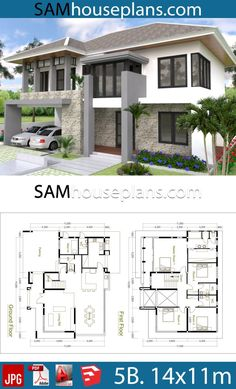 House Plans with 5 Bedrooms - Sam House Plans Beautiful House Plans, Dream House Plans, House Floor Plans, Double Storey House Plans, Small Dream Homes, House Construction Plan, Modern Small House Design, 5 Bedroom House Plans, 2 Storey House Design