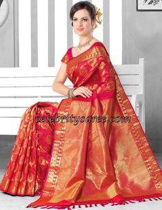 Saree Blouse Patterns: Gorgeous Red Kancheepuram Bridal Silk saris