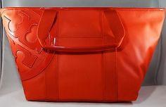 NWT-Tory-Burch-Canvas-Small-Tote-New-Auth-Handbag-Logo-Poppy-Red-Free-Ship-195