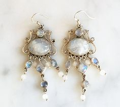 Vintage 90s Long Dangly Sterling Moonstone Earrings Vintage Artisan Jewelry 1990s