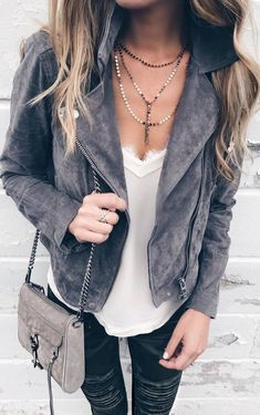 street style perfection | grey moto jacket + white top + bag + rips