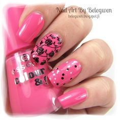 Nail Art by Belegwen: Essence Happy End & Essence Black Dress and White Tie