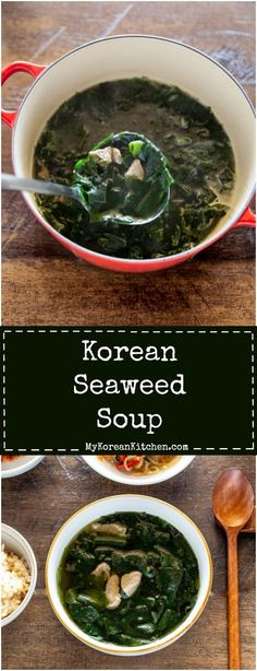 Korean Seaweed Soup (Miyeok Guk) Korean Food How to Make Korean Seaweed Soup. It's healthy, nutritio Korean Soup Recipes, Asian Recipes, Mexican Food Recipes, Thai Recipes, Korean Side Dishes, Seaweed Soup Recipe, Korean Seaweed Soup, Healthy Soup, Healthy Recipes