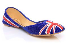 Women Flag Indian Slippers (khussa)  £ 39.99 Uk Fashion, Flags, Espadrilles, Slippers, Indian, London, Shoes, Women, Style