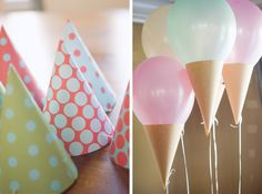 Ice cream cone balloons -- for your ice cream birthday ideas @Megan Terrell Too perfect! @Brooke Robinson I wonder how they would work combining the hanging balloons idea and these cones.