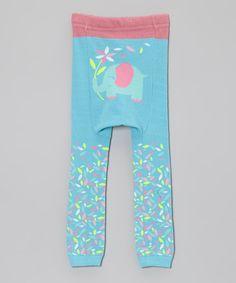 Blue Floral Elephant Leggings by Doodle Pants