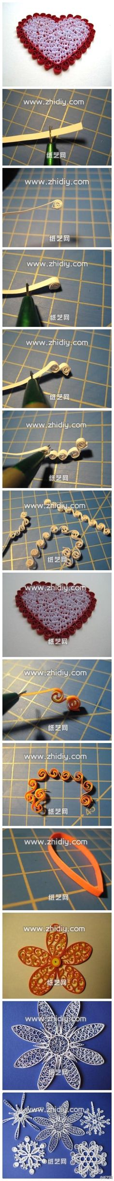 Heart Quilling using beehive method / duitang.com