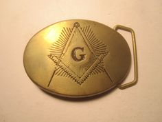 Vintage 1970's Freemason Solid Brass Belt Buckle by BigAlsKollects, $35.00