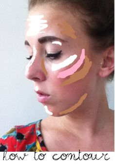 Contouring your face make a huge difference. Just by applying bronzer, blush, and highlighter stratigically, your face will look sculpted, nose will look slimmer, and your eyes will pop. Above is color coded and are the areas to apply each product.  Start with applying bronzer to the hallows of you cheek bones. Make the fishy face, and where you suck in, is where to apply it. Also apply on the side of your nose, temples, and sides of your chin.     Next, apply your blush to the apples of