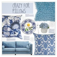 """""""◊ Blue Pillows (6/9)"""" by paty ❤ liked on Polyvore featuring interior, interiors, interior design, home, home decor, interior decorating, Sferra, TOV, KAROLINA and Dot & Bo"""
