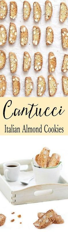 Cantucci are crunchy almond Italian cookies. They have no butter and no oil ...feel good about eating more than one! Replace almonds with chocolate chips, hazelnuts, pistachios or dried fruits. The possibilities are endless. These cookies last for several weeks and they are also perfect to give as a homemade gift. #italiancookies #holidays #Christmas #diygifts #easyrecipe